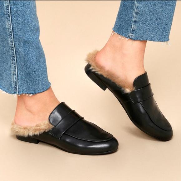 1b3038f3468 Steve Madden Kaden Leather Faux Fur Loafer Slides